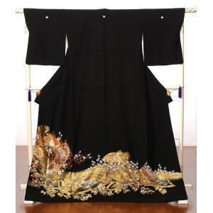 留袖 レンタル 黒留袖 レンタルフルセット 扇面 孔雀に高白梅 結婚式 江戸妻 母親 149cm〜170cm位まで