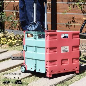 ビスク ZELT ツェルト ノスタルジック キャリーカート 運動会 行楽 ピクニック レジャー BBQ キャンプ 折りたたみ 収納 ボックス(レジャーシート)の画像