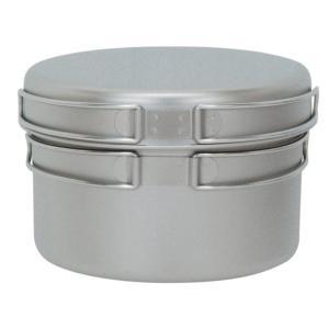 通常時:ご注文後5〜6営業日後の出荷となります チタン製の深型鍋とフライパンのセット。ネットケース付...