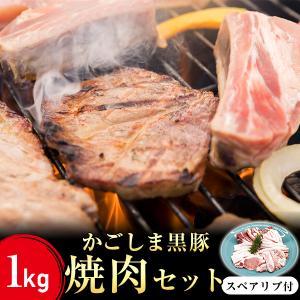 黒豚 焼肉 バーベキュー BBQ かごしま黒豚 1Kg 豚肉 鹿児島 スペアリブ ロース バラ トントロ 3〜4人前 送料無料 ibusukiya