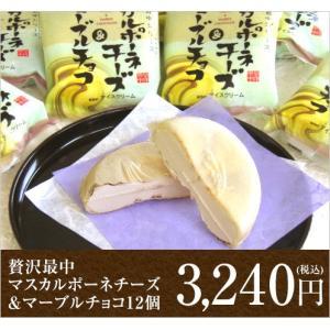 贅沢最中マスカルポーネチーズ&マーブルチョコ(モナカアイス12個詰め合わせ)(送料込)