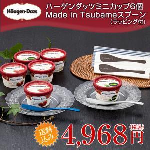 お中元 ギフト 2021 プレゼント ハーゲンダッツ ミニカップ6個&Made in TSUBAMEアイススプーン2個セット(送料込)(ラッピング付)|ice-ouan