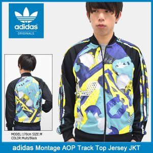 アディダス adidas ジャージー ジャケット メンズ モンタージュ AOP トラック トップ ジャージ オリジナルス(Montage AOP Track JKT BK5924) icefield