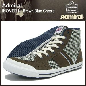 アドミラル Admiral イノマー ハイ ブラウン/ブルーチェック メンズ 男性用(admiral inomer hi brown/blue check スニーカー SJAD0706-080586)