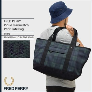 フレッドペリー FRED PERRY トートバッグ ピケ ブラックウォッチ プリント トート バッグ 日本企画(F9278 Pique Blackwatch Print Tote Bag)|icefield