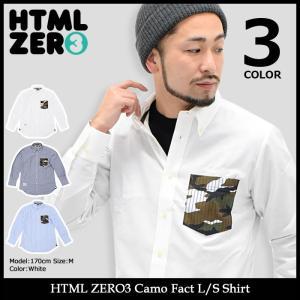 【送料無料】エイチティエムエル ゼロスリー HTML ZERO3 シャツ 長袖 メンズ カモ ファクト(Camo Fact L/S Shirt ボタンダウンシャツ)