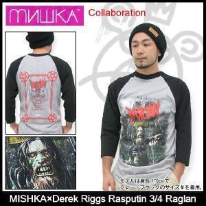 ミシカ MISHKA×デレク リッグス ラスプーチン ラグラン 七分袖 コラボ(mishka×Derek Riggs Rasputin 3/4 Raglan カットソー メンズ FL121120CRG)|icefield