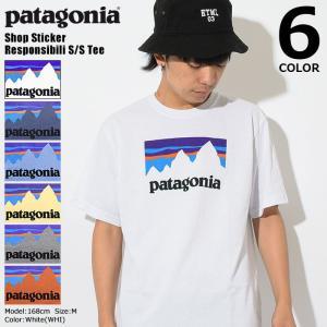パタゴニア Patagonia Tシャツ 半袖 メンズ ショップ ステッカー レスポンシビリティー(Shop Sticker Responsibili Tee USAモデル 39175)