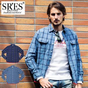 エスアールエス SRES シャツ 長袖 メンズ インディゴ チェック(SRS Indigo Check L/S Shirt カジュアルシャツ トップス)|icefield