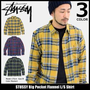 ステューシー STUSSY シャツ 長袖 メンズ Big Pocket Flannel(stussy shirt ネルシャツ カジュアルシャツ トップス 男性用 111953)|icefield