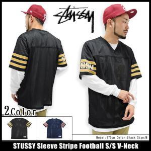 ステューシー STUSSY カットソー 半袖 メンズ Sleeve Stripe Football(stussy v-neck フットボールシャツ トップス 男性用 114821)|icefield