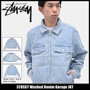 ステューシー STUSSY ジャケット メンズ Washed Denim Garage(stussy JKT デニム Gジャン アウター ブルゾン 男性用 115334)|icefield