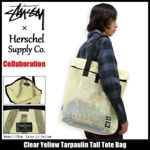 ステューシー STUSSY トートバッグ Herschel Clear Yellow Tarpaulin Tall コラボ(STUSSY×Herschel tote bag メンズ レディース 134128)|icefield