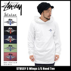 ステューシー STUSSY カットソー 長袖 メンズ S Wings(stussy Hood Tee トップス ロンt フード付きTシャツ 男性用 1983996)|icefield