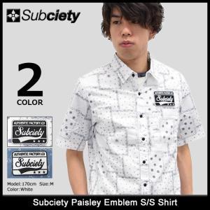 サブサエティ Subciety シャツ 半袖 メンズ ペイズリー エンブレム(subciety Paisley Emblem S/S Shirt カジュアルシャツ トップス)|icefield