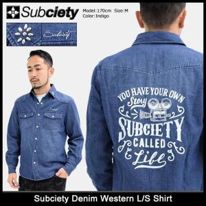 サブサエティ Subciety シャツ 長袖 メンズ デニム ウエスタン(subciety Denim Western L/S Shirt ウエスタンシャツ トップス)|icefield