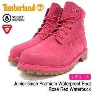 ティンバーランド Timberland ブーツ レディース対応サイズ ジュニア 6インチ プレミアム ウォータープルーフ Rose Red Waterbuck(A1ODE)|icefield