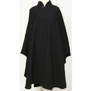 紳士マント U字型デザイン 黒色綿生地 着物、作務衣用 和洋兼用 カジュアルメンズアウター|ichi529