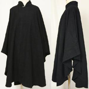 紳士マント U字型デザイン 黒色綿生地 着物、作務衣用 和洋兼用 カジュアルメンズアウター|ichi529|02