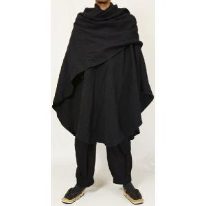 紳士マント U字型デザイン 黒色綿生地 着物、作務衣用 和洋兼用 カジュアルメンズアウター|ichi529|04