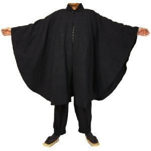 紳士マント U字型デザイン 黒色綿生地 着物、作務衣用 和洋兼用 カジュアルメンズアウター|ichi529|05