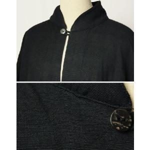 紳士マント U字型デザイン 黒色綿生地 着物、作務衣用 和洋兼用 カジュアルメンズアウター|ichi529|06