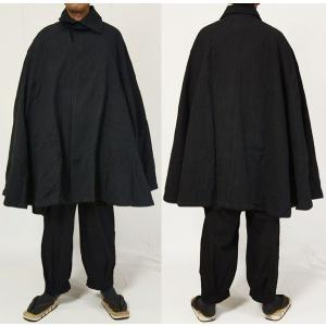 紳士マント 黒色綿生地 着物、作務衣用 和洋兼用 カジュアルメンズアウター|ichi529|02