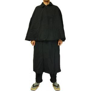 紳士とんびマント 黒色綿生地 着物、作務衣用 和洋兼用 カジュアルメンズアウター ichi529 04