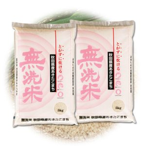 ふるさと名物商品 H29年産米 米 とがずに炊けて経済的! 無洗米・秋田県産あきたこまち 10kg(5kg×2個) 代引不可 同梱不可|ichibankanshop