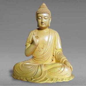 仏像 彫刻 不空成就如来 高さ46cm 職人による手作りの精巧な木像 工芸美術品 代引不可 分割払い可|ichibankanshop