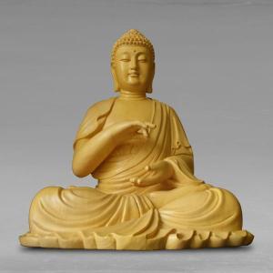 仏像 彫刻 宝生如来座像 高さ46cm 職人による手作りの精巧な木像 工芸美術品 仏像 宝生如来座像 代引不可 分割払い可|ichibankanshop