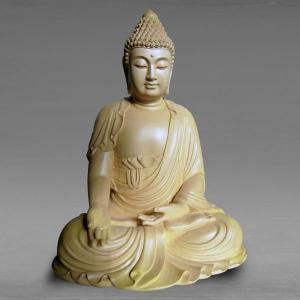 仏像 彫刻 阿如来 高さ46cm 職人による手作りの精巧な木像 工芸美術品 代引不可 分割払い可|ichibankanshop