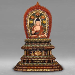 仏像 彫刻 阿弥陀如来 坐像 高さ140cm 職人による手作りの精巧な木像 工芸美術品 代引不可 カード決済不可 分割払い可|ichibankanshop
