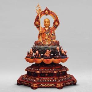 送料無料 分割払い可 仏像 地蔵菩薩坐像 高さ112cm 職人による手作りの精巧な木像 工芸美術品 代引不可 カード決済不可|ichibankanshop