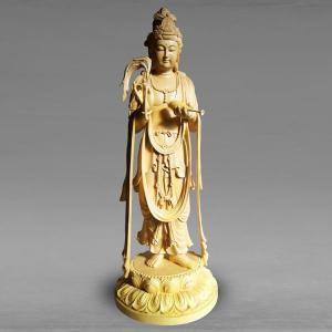 分割払い可 仏像 浄瓶観音菩薩立像 高さ66cm 職人による手作りの精巧な木像 工芸美術品 代引不可 ichibankanshop