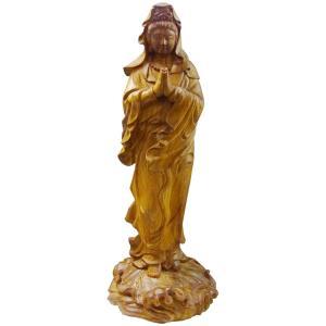 カードOK 仏像 観音菩薩立像 高さ23cm 職人による手作りの精巧な木造 楠木材 bmw-bh-035-ksnk ichibankanshop