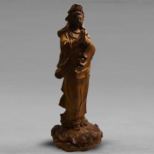 送料無料 カードOK 仏像 観音菩薩立像 高さ23cm 職人による手作りの精巧な木像 工芸美術品 龍眼材|ichibankanshop