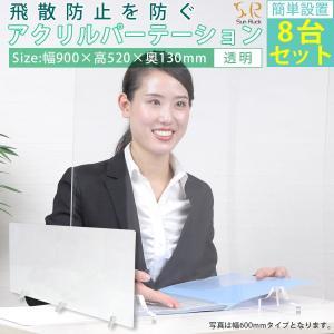 アクリルパーテーション 8台セット 透明 クリア 幅900mm 高さ520mm パーティション アクリル板 飛沫防止 会社 事務所 病院|ichibankanshop