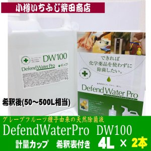 DF5 2本 DefendWaterPro DW100 ディフェンドウォーター 業務向き4L(希釈後50L〜500L分) 200mlのスプレーボトル 250本分 空間除菌 ヌメリ除去 ichifuji-shibata