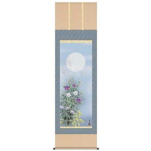 掛軸 掛け軸  花鳥画 月に秋草 清水玄澄 尺五 A4-090 ichifuji-store