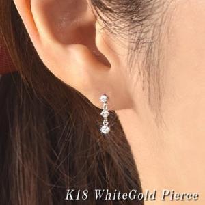 18金 ダイヤモンドピアス  (両耳用1ペア) 18k K18 ホワイトゴールド 4月 誕生石 ダイヤピアス トリロジー  ( 誕生日プレゼント 女性 レディース )|ichigo|05