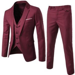スリーピース メンズ スーツ セットアップ ビジネス 1つボタン ジャケット ベスト スラックス ス...