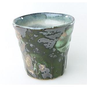 【陶友】黒釉緑花 フリーカップ 焼酎・ビールにぴったりの陶製カップ|ichiishop