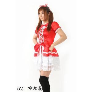 コスプレ メイド服 レースがきれいな赤いメイド服 レディース|ichimatsuya|02