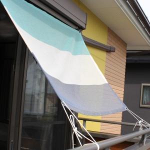 おしゃれな日よけ イチオリシェード   3ボーダー  マリンブルー 幅140cm    目かくし サンシェード|ichiori-inc