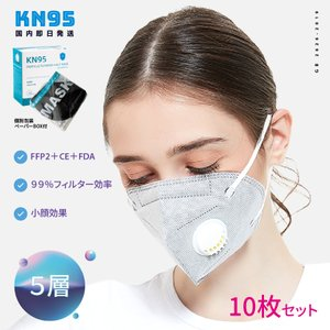 マスク KN95 不織布マスク イデアフォルム 5層構造 バルブ付 グレー 10枚 個包装 FFP2...