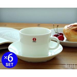 イッタラ ティーマ ホワイト 7253/7248 ティー/コーヒー(兼用)カップ&ソーサー 220ml 6個セット ideale