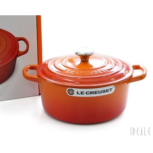 ルクルーゼ(ル・クルーゼ) 両手鍋 ココットロンド 21177-22cm オレンジ 09 (つまみシルバー)|ideale