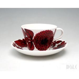 復刻版 グスタフスベリ レッドアスター 496-06 コーヒーカップ&ソーサー GUSTAVSBERG Red Aster|ideale