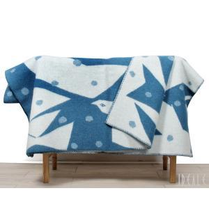 クリッパン KLIPPAN ×ミナ ペルホネン 225503 TRIP/トリップ ウールシングルブランケット 130×180cm ブルー/ホワイト|ideale